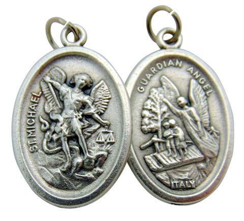 St Michael Medals Bulk Lot Set of 5 Metal Saint Pendants from Italy
