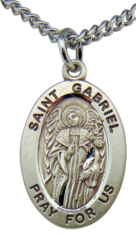 "Sterling Silver 7/8"" Oval St Gabriel Medal with Stainless Steel 20"" Chain Boxed"