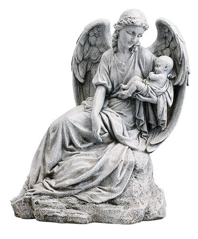 "Guardian Angel w/ Infant Garden Statue Home/Church Yard Decor Stoneresin 16.5""H"