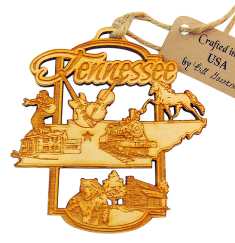 Tennessee Christmas Ornament Wooden State Boxed Made in the USA