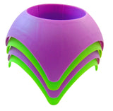 Beach Vacation Accessory Turtleback Sand Coaster Drink Cup Holder,Purple & Neon Green, Pack of 4