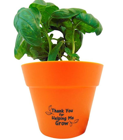 Teacher Appreciation Basil Planter Pot Says Thank You For Helping Me Grow