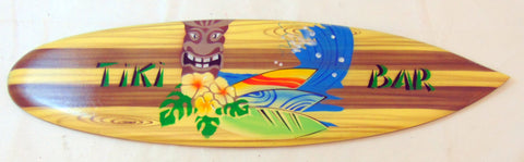Tiki Bar Wooden Sign Glossy Airbrushed Surfboard Wall 20 inches Long