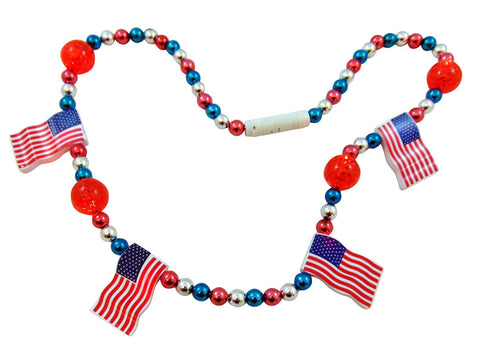 4th of July Flashing Light Up Bead Patriotic Necklace with USA American Flag