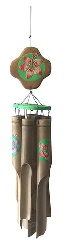 Bamboo Wood Wind Chime with Hibiscus Flower Design Handmade Tropical Chime, 39 inches