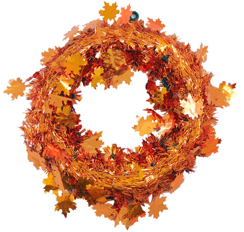 Thanksgiving Door Wreath with Metallic Tinsel Orange Maple Leafs, 12 Inch