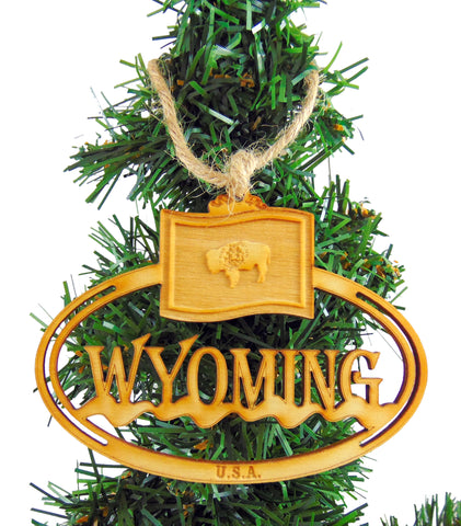 Wyoming Wooden State Christmas Ornament Boxed Gift Handmade in the U.S.A.