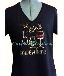 It's 5 o'clock somewhere Rhinestone Design T-Shirt
