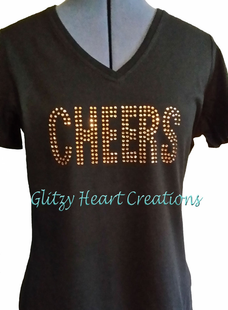 CHEERS Rhinestone Design T-Shirt