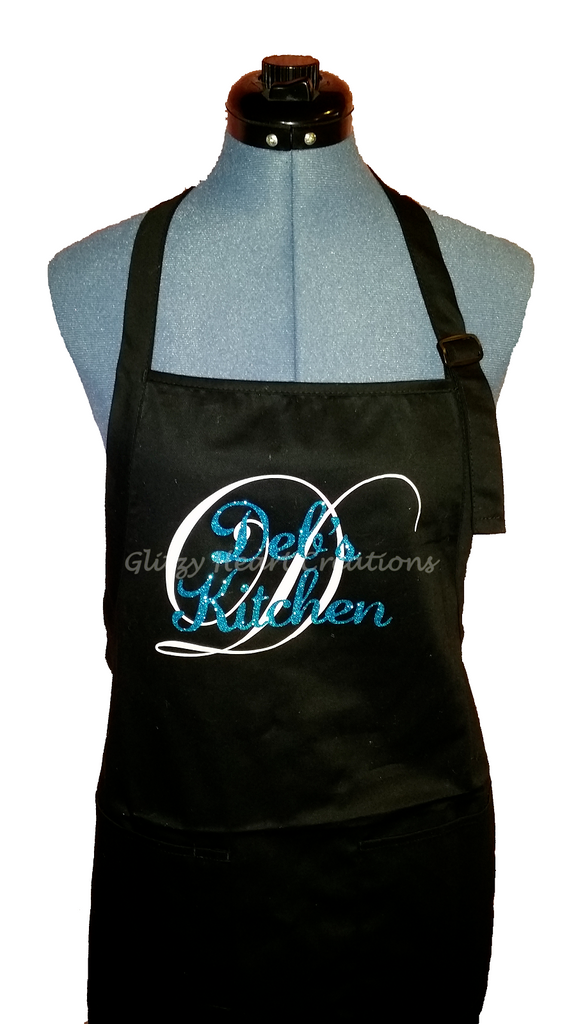 Personalized Kitchen Apron - white initial