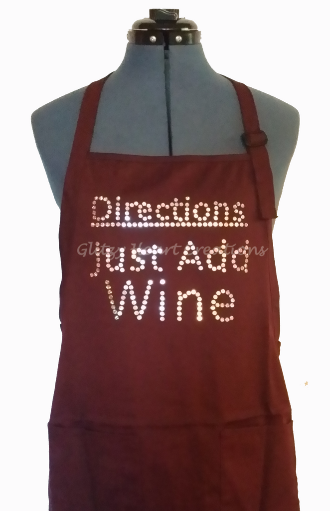 Apron - Directions Just Add Wine Design on Maroon