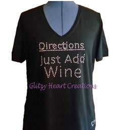 Directions Just Add Wine Rhinestone Design