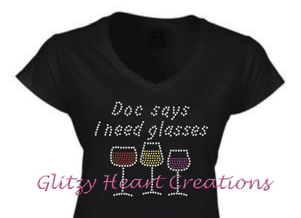 Doc Says Rhinestone Design Black T-Shirt