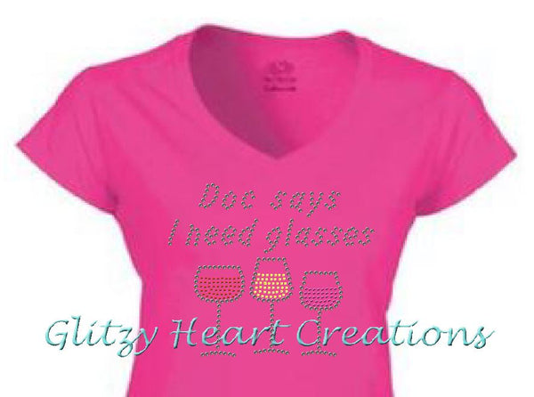 Doc Says Rhinestone Design Pink T-Shirt