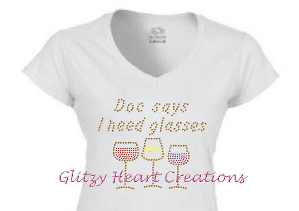 Doc Says Rhinestone Design White T-Shirt
