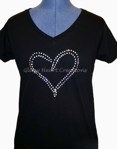 Double Line Heart Rhinestone Design Shirt