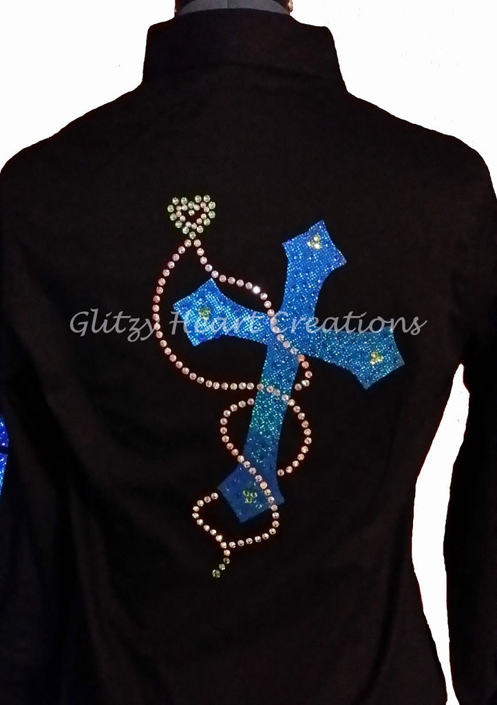 Cross with Floating Heart Design - Blue