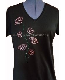 Roses on Vine Rhinestone Design T-Shirt
