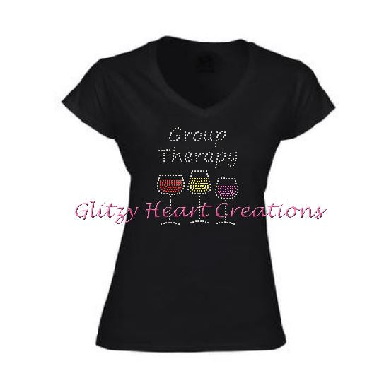 Group Therapy Rhinestone Design Black T-Shirt