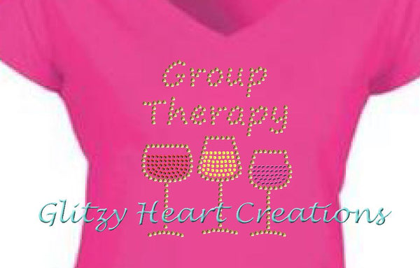 Group Therapy Rhinestone Design Pink T-Shirt