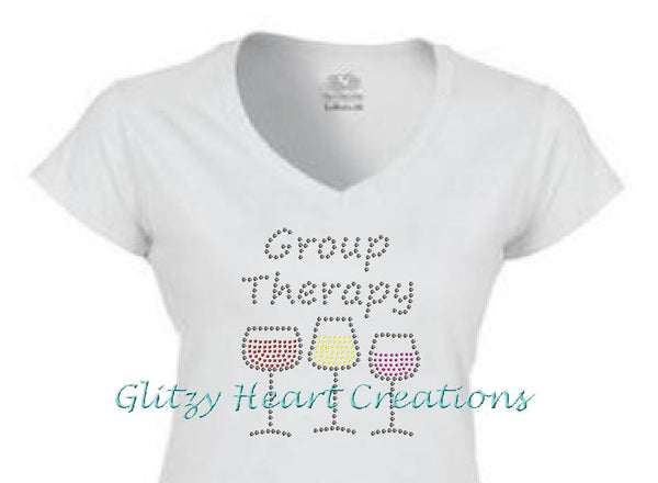 Group Therapy Rhinestone Design White T-Shirt