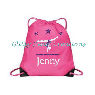 Gymnastics Balance Beam Design Personalized Cinch Bag - Pink