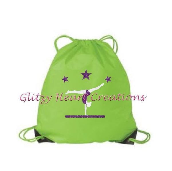 Gymnastics Balance Beam Design on a Cinch Bag