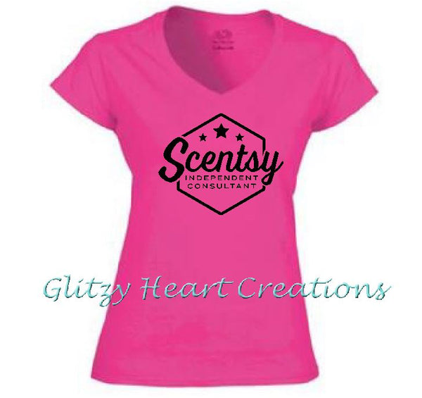 Ladies V neck T shirt with Scentsy Hexagon Logo - Pink vneck shirt