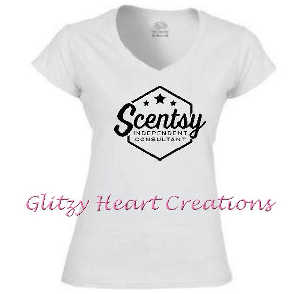 Ladies V neck T shirt with Scentsy Hexagon Logo - White vneck shirt