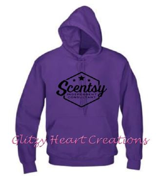 Authorized Scentsy Vendor - Pullover Hoodie with Scentsy Hexagon logo - Purple Hoodie