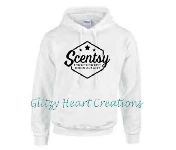 Authorized Scentsy Vendor - Pullover Hoodie with Scentsy Hexagon logo - White Hoodie
