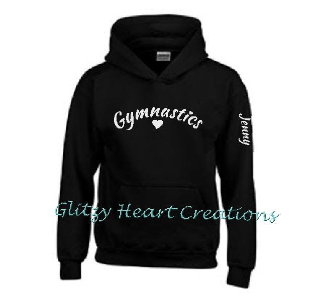 Gymnastics Hoodie with Gymnastics and Heart Design - Personalized