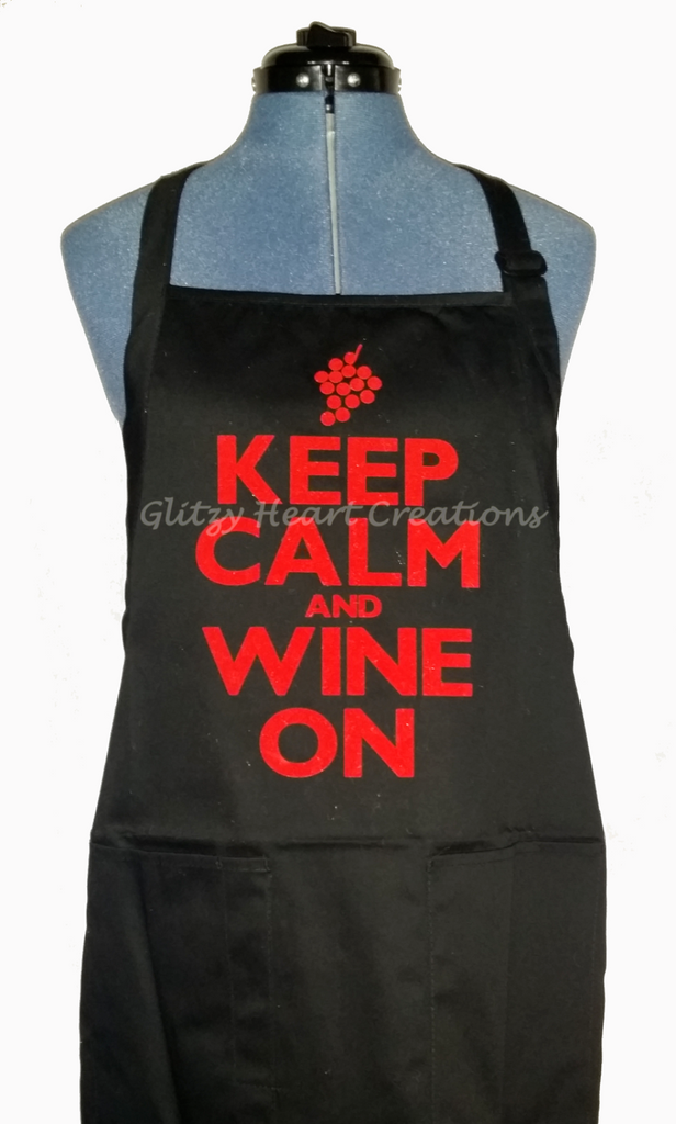 Apron - Keep Calm and Wine On Design on Navy