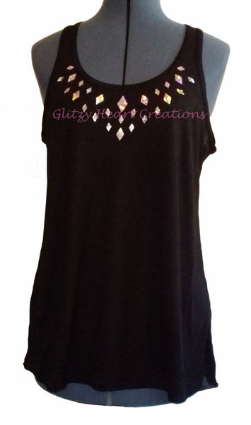 Large Diamond Design on Black Tank Top
