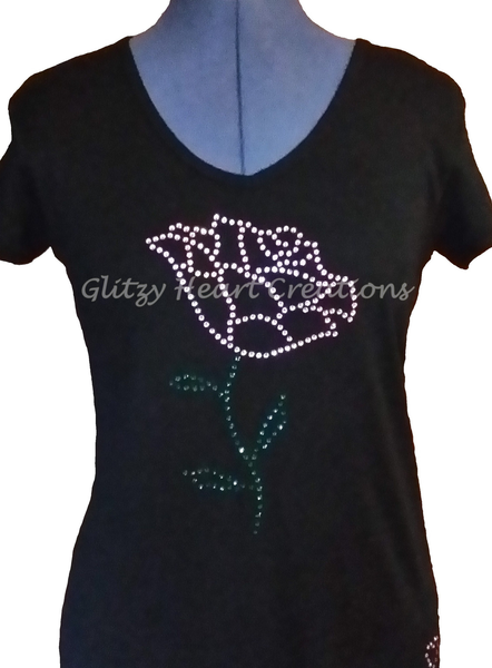 Single Rose Design Rhinestone T-Shirt