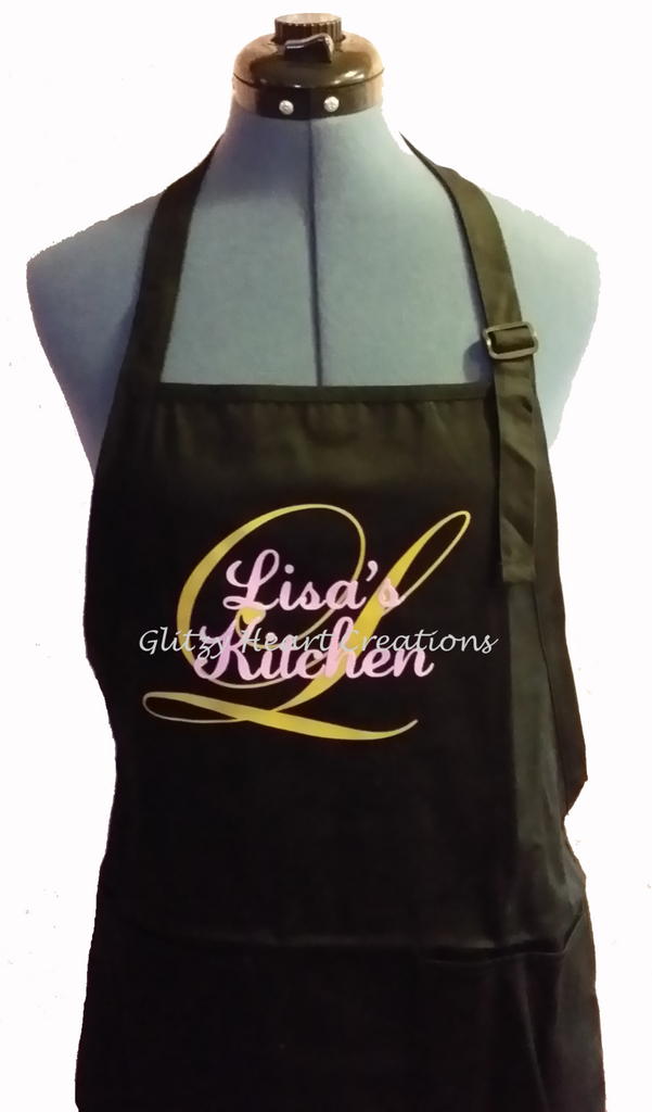 Personalized Apron - Name with Gold Initial Design