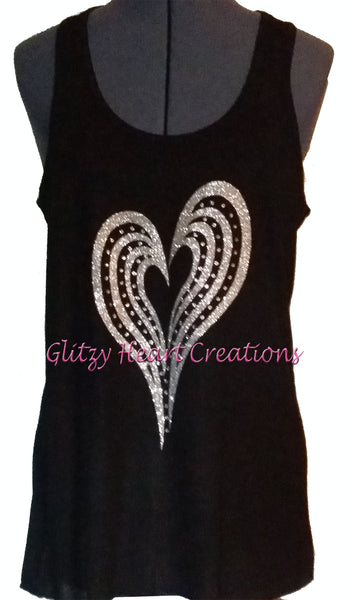 Long Heart Design on Black Tank Top