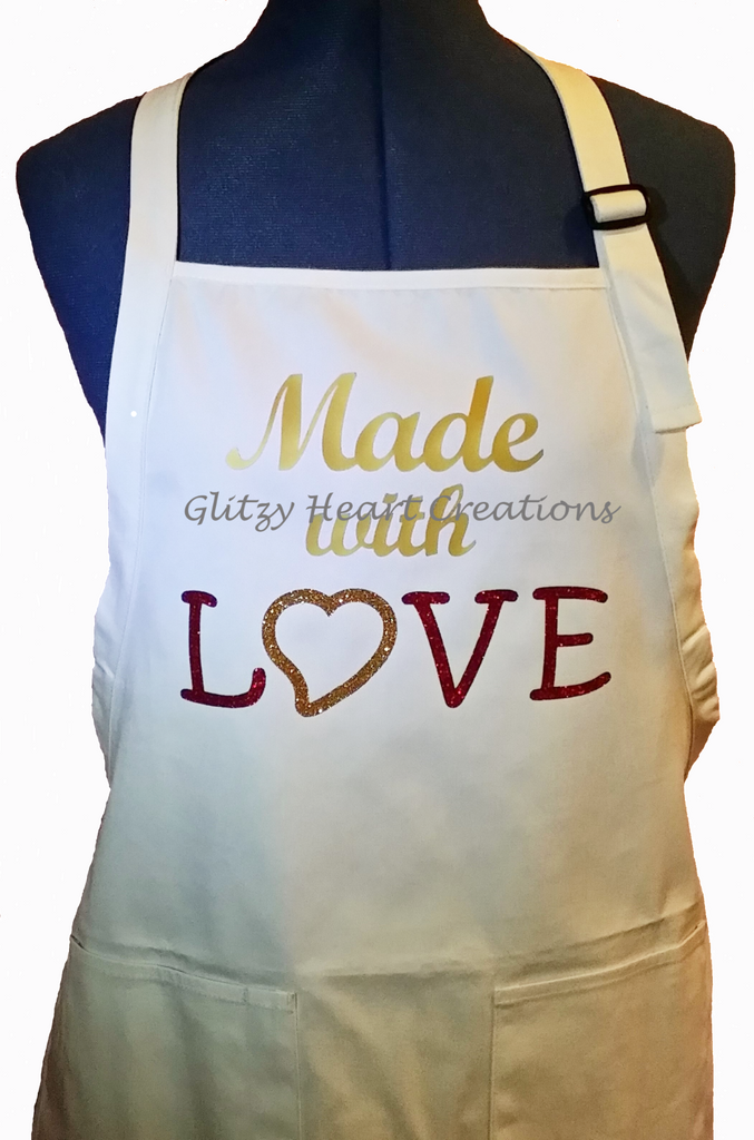 Apron - Made with Love Design on White Apron