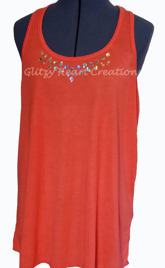Medium Diamond Design on Coral Tank Top