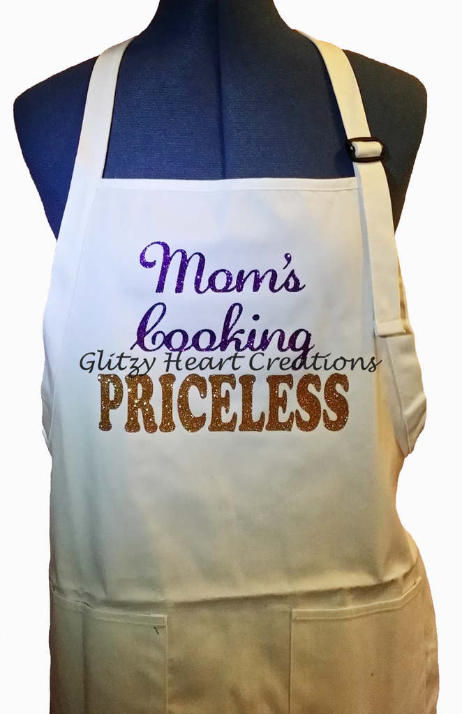 Mom's Cooking Priceless White Decorated Apron
