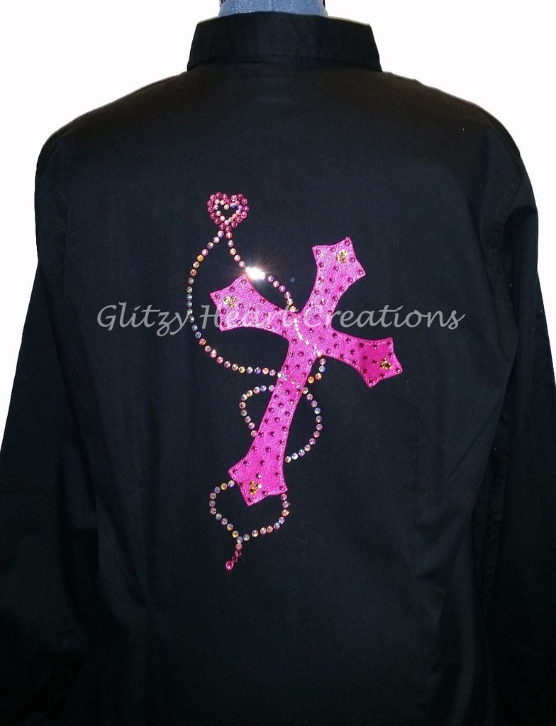 Cross with Floating Heart Design - Pink