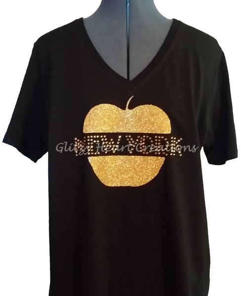 New York with Big Apple Design Rhinestone T-Shirt