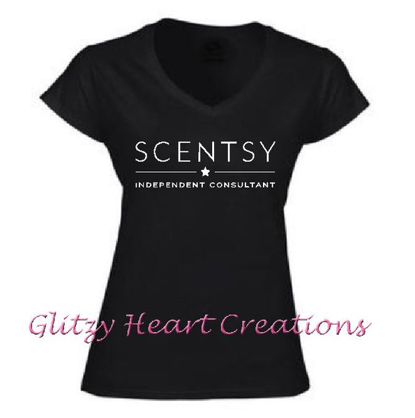 Authorized Scentsy Vendor - Ladies V neck T shirt with New Scentsy Logo - Black vneck shirt