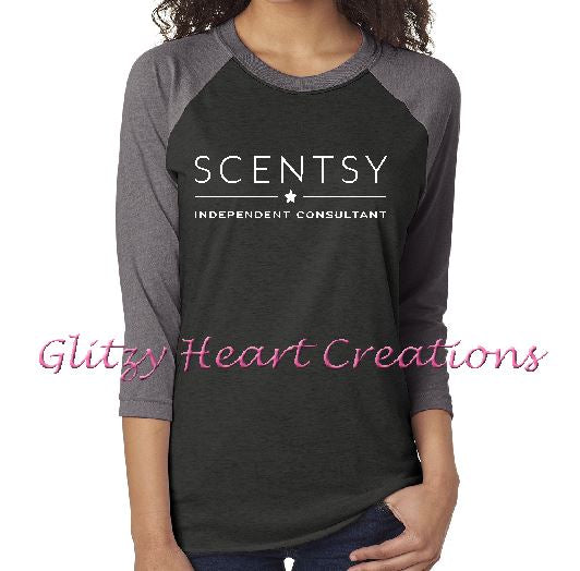 Authorized Scentsy Vendor - Unisex Baseball Shirt 3/4 Sleeve with Scentsy New Logo