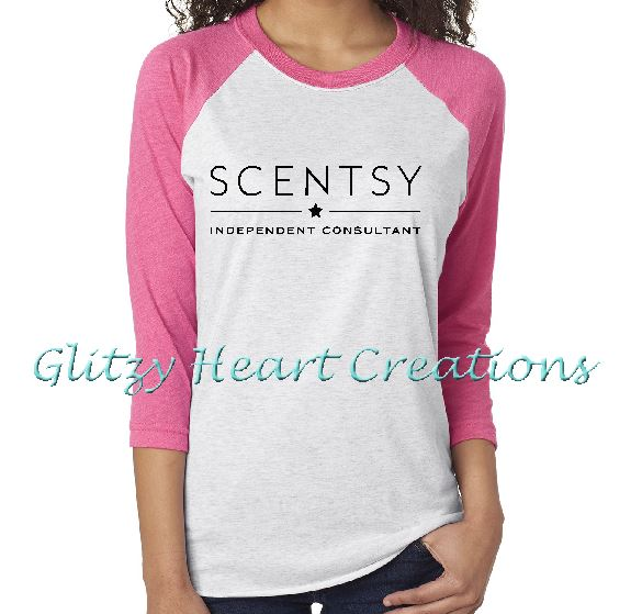 Authorized Scentsy Vendor - Unisex H White Baseball Shirt 3/4 Sleeve with Scentsy New Logo