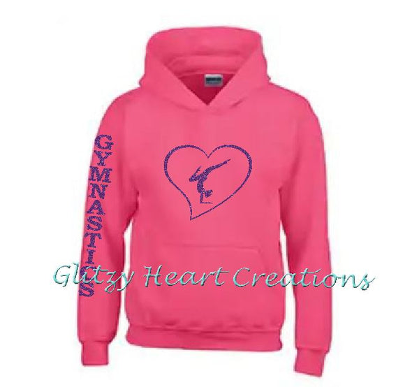 Gymnastics Hoodie with Gymnast Balance in Heart Design