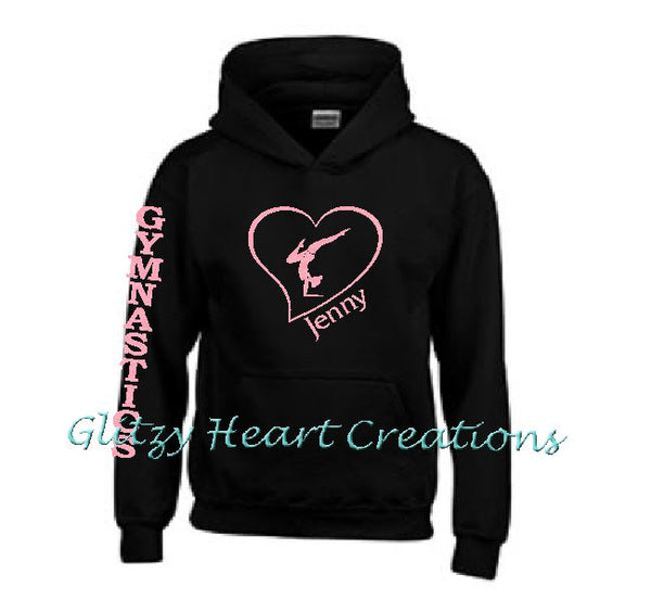 Gymnastics Hoodie with Gymnast Balance in Heart Design - Personalized