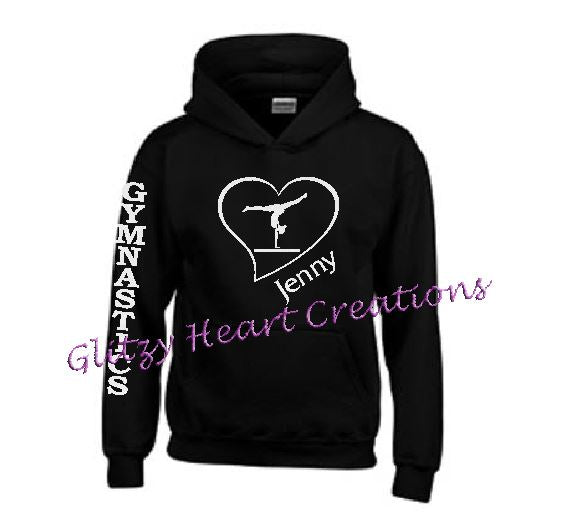 Gymnastics Hoodie with Balance Beam in Heart Design - Personalized