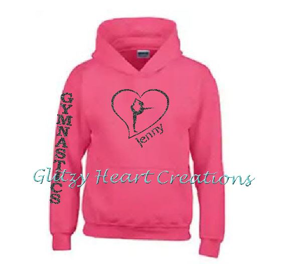 Gymnastics Hoodie with Ring Balance in Heart Design - Personalized