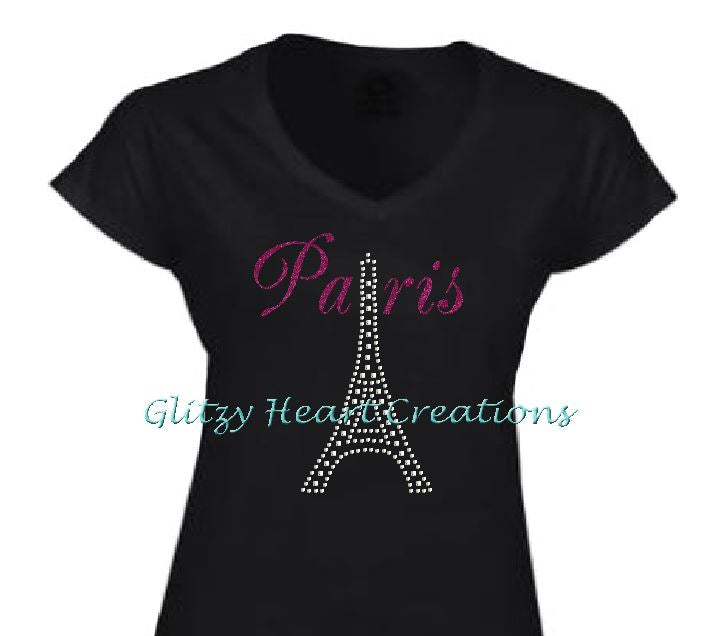 Paris and Eiffel Tower Design Black T-Shirt